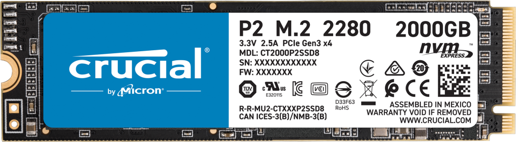 SSD کروشال P2 ظرفیت 2 ترابایت
